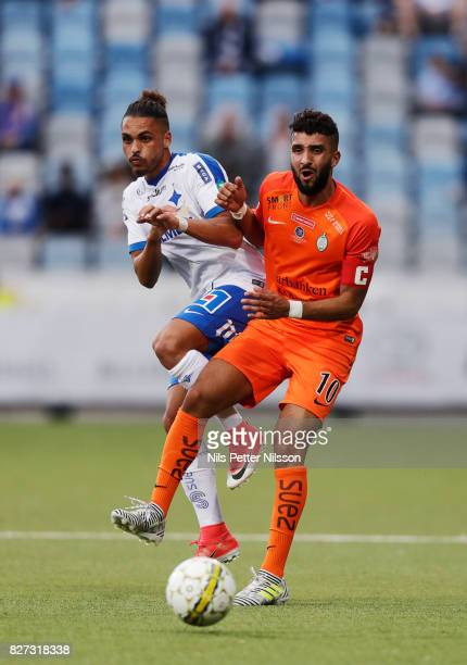 Alexander Jakobsen of IFK Norrkoping and Omar Eddahri of Athletic FC Eskilstuna competes for the ball during the Allsvenskan match between IFK...