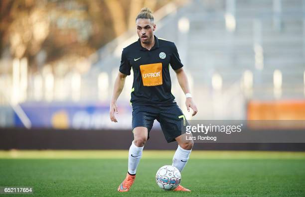 Alexander Jakobsen of Viborg FF controls the ball during the Danish Alka Superliga match between Lyngby BK and Viborg FF at Lyngby Stadion on March...
