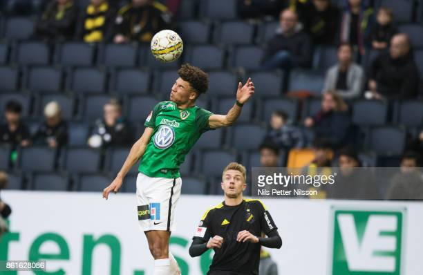 Alexander Jallow of Jonkopings Sodra shoots a header during the Allsvenskan match between AIK and Jonkopings Sodra IF at Friends Arena on October 15...