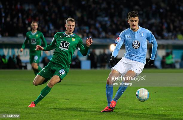 Alexander Jeremejeff of Malmo FF during the Allsvenskan match between Malmo FF and Hammarby IF at Swedbank Stadion on November 6 2016 in Malmo Sweden