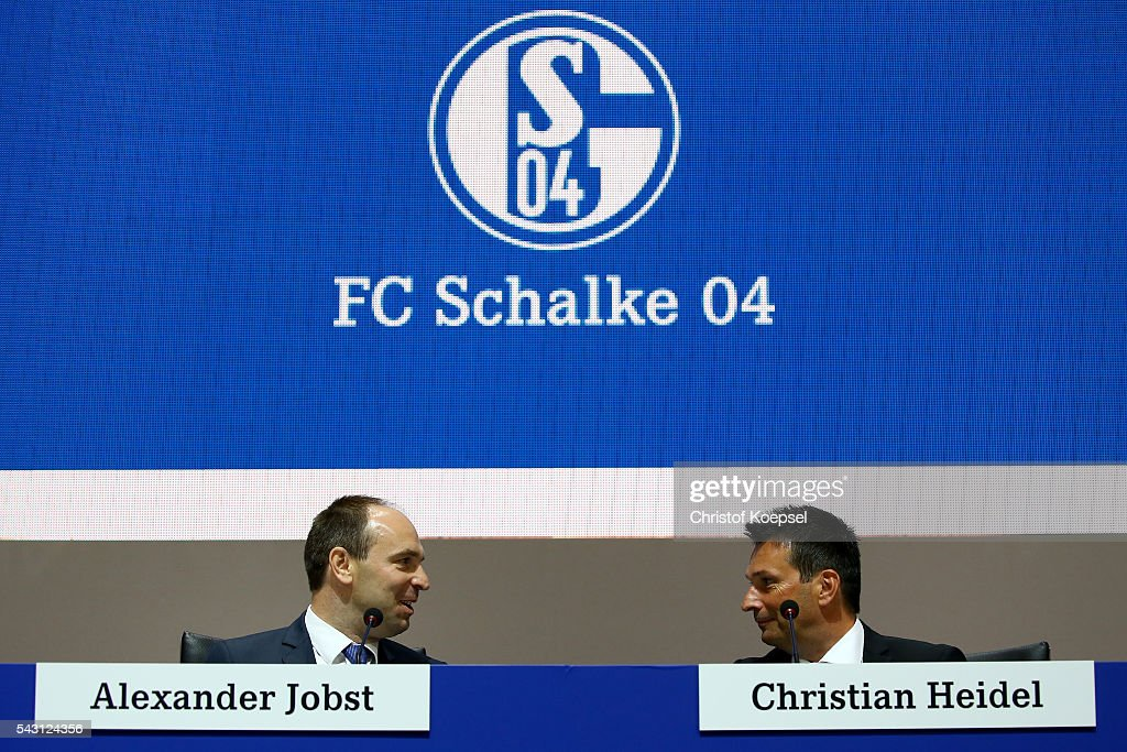 Alexander Jobst,member of the board and manager Christian Heidel attend the FC Schalke 04 general assembly at Veltins Arena on June 26, 2016 in Gelsenkirchen, Germany.