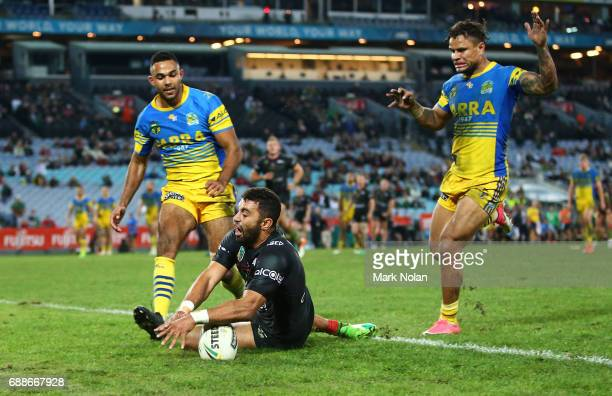 Alexander Johnston of the Rabbitohs scores a try during the round 12 NRL match between the South Sydney Rabbitohs and the Parramatta Eels at ANZ...
