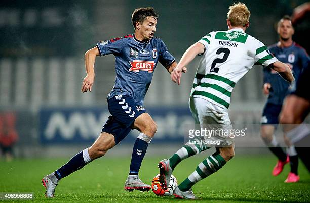 Alexander Juel Andersen of AGF Aarhus controls the ball during the Danish Alka Superliga match between Viborg FF and AGF Aarhus at Energi Viborg...