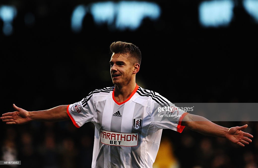 Alexander Kacaniklic of Fulham celebrates scoring during the Sky Bet Championship match between Fulham and Reading at Craven Cottage on January 17, 2015 in London, England.