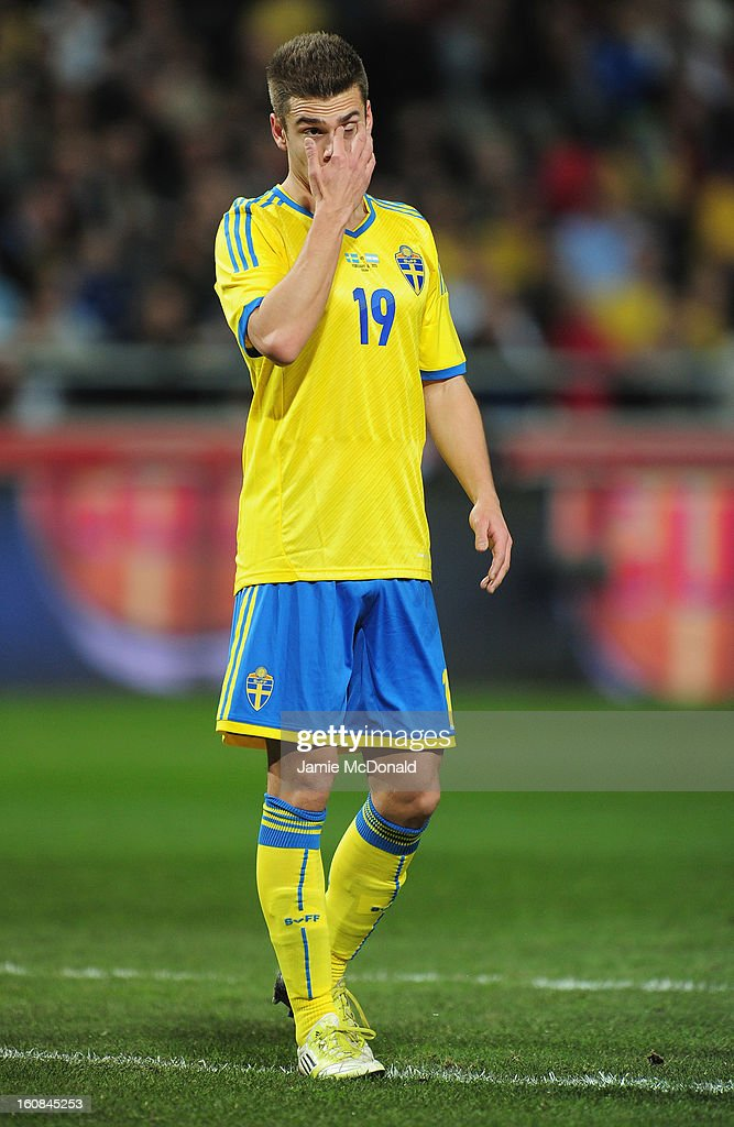 Alexander Kacaniklic of Sweden in action during the International Friendly match between Sweden and Argentina at the Friends Arena on February 6, 2013 in Stockholm, Sweden.