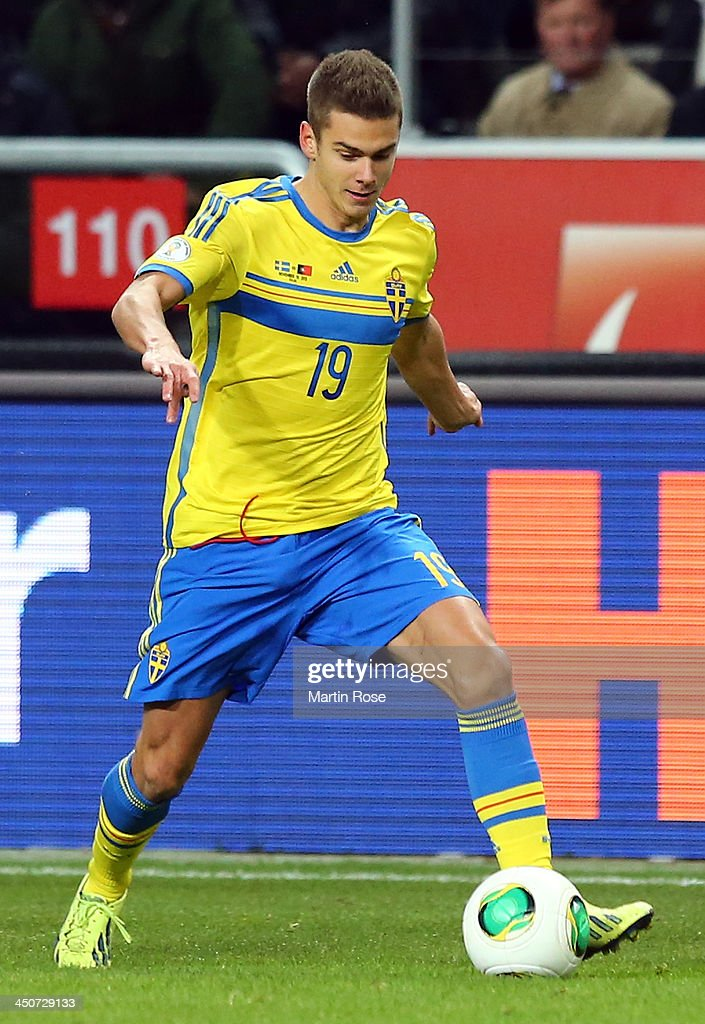 Alexander Kacaniklic of Sweden runs with the ball during the FIFA 2014 World Cup Qualifier Play-off Second Leg match between Sweden and Portugal at Friends Arena on November 19, 2013 in Stockholm, Sweden.