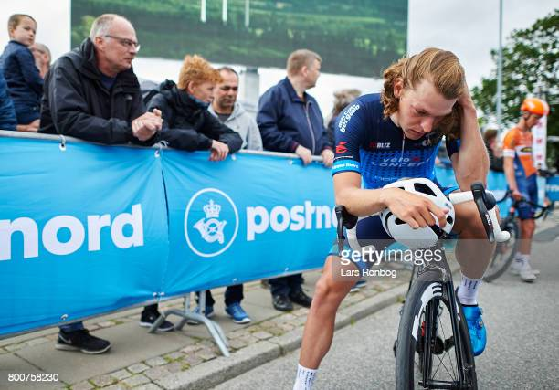 Alexander Kamp of Team VeloConcept looks dejected after the Elite Mens Road Race in the Danish Road Cycling Championships on June 25 2017 in...