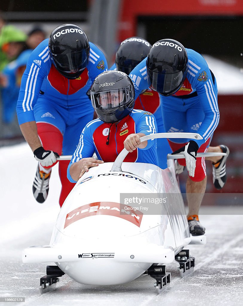 Alexander Kasjanov drives Russian 2 sled to a seventh place finish in the FIBT Men's Four Man Bobsled World Cup Heat 1 at Utah Olympic Park on November 17, 2012 in Park City, Utah.