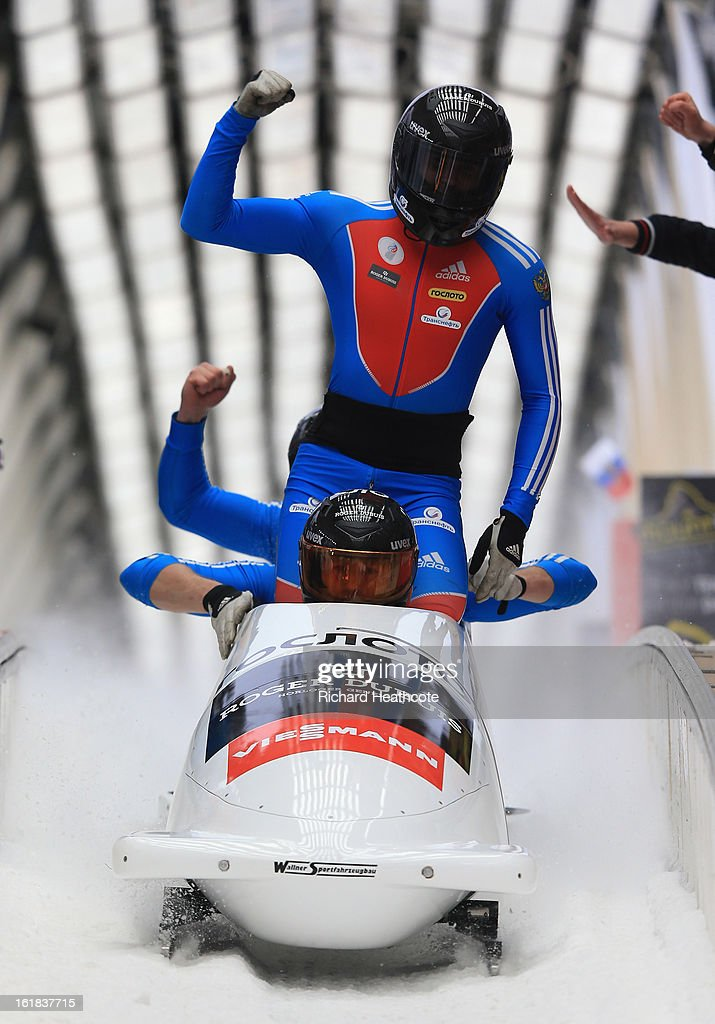 Alexander Kasjanov of Russia crosses the finish line during the 4 man Bobsleigh Viessman FIBT Bob & Skeleton World Cup at the Sanki Sliding Center in Krasnya Polyana on February 17, 2013 in Sochi, Russia. Sochi is preparing for the 2014 Winter Olympics with test events across the venues.