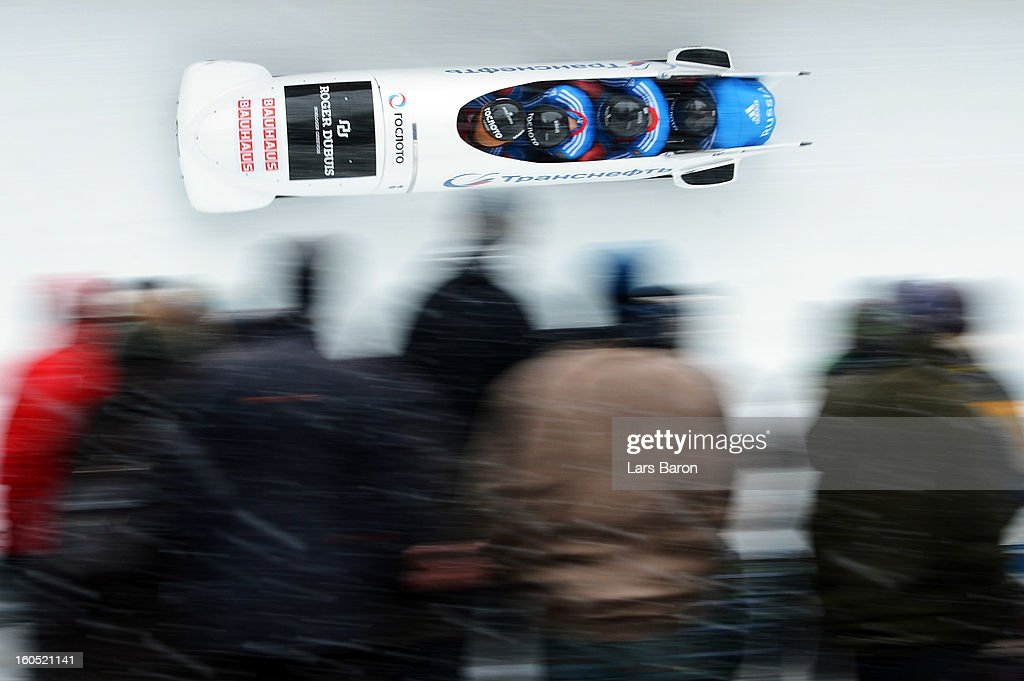 Alexander Kasjanov, Petr Moissev, Maxim Belugin and Kirill Antukh of Russia compete during the Four Men Bobsleigh heat two of the IBSF Bob & Skeleton World Championship at Olympia Bob Run on February 2, 2013 in St Moritz, Switzerland.