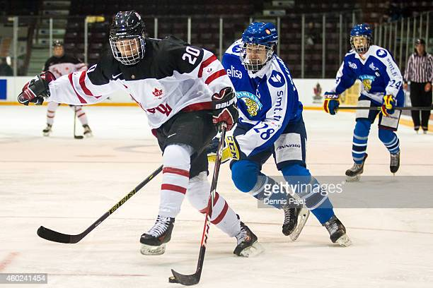 Alexander Katerinakis of Canada White moves the puck against Urho Vaakanainen of Finland during the World Under17 Hockey Challenge on November 2 2014...