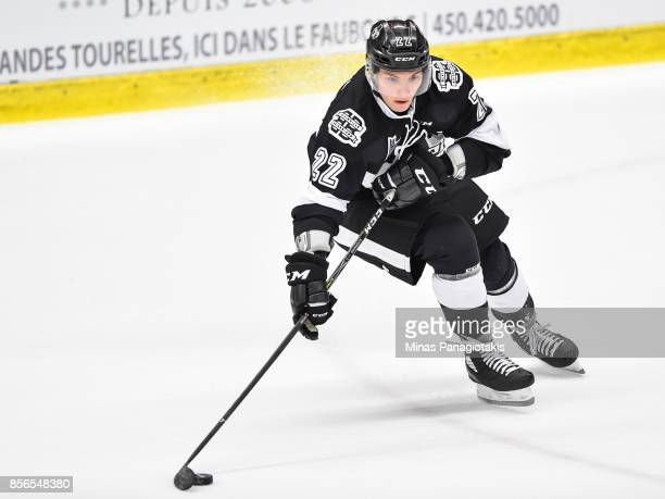Alexander Katerinakis of the BlainvilleBoisbriand Armada skates the puck against the RouynNoranda Huskies during the QMJHL game at Centre...