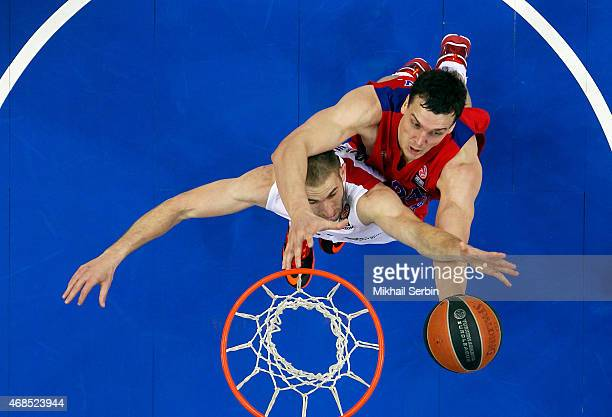 Alexander Kaun #24 of CSKA Moscow competes with Matthew Lojeski #24 of Olympiacos Piraeus in action during the Turkish Airlines Euroleague Basketball...