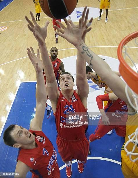 Alexander Kaun 24 of CSKA Moscow in action during the 20142015 Turkish Airlines Euroleague Basketball Regular Season Date 10 game between CSKA Moscow...