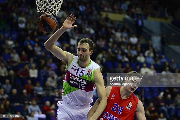 Alexander Kaun of CSKA Moscow in action against his rival during their Euroleague Top16 group F basketball match in Moscow on January 8 2015