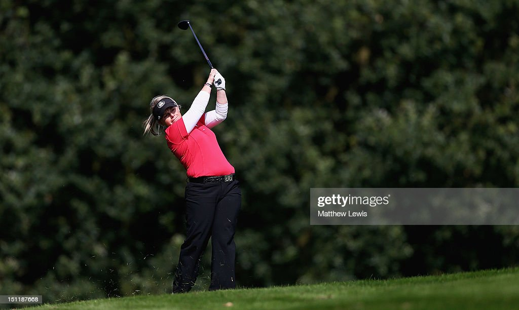 Alexander Keighley of Huddersfield Golf Club plays a shot from the 14th fairway during the Lombard Challenge Regional Qualifier at Huddersfield Golf Club on September 3, 2012 in Huddersfield, England.