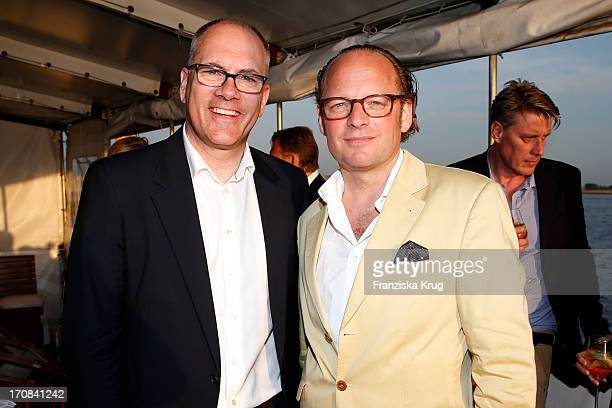 Alexander Keller and Moritz von Laffert attend an exclusive cocktail reception and harbour cruise for German Vogue to mark Karl Lagerfeld's 30th...