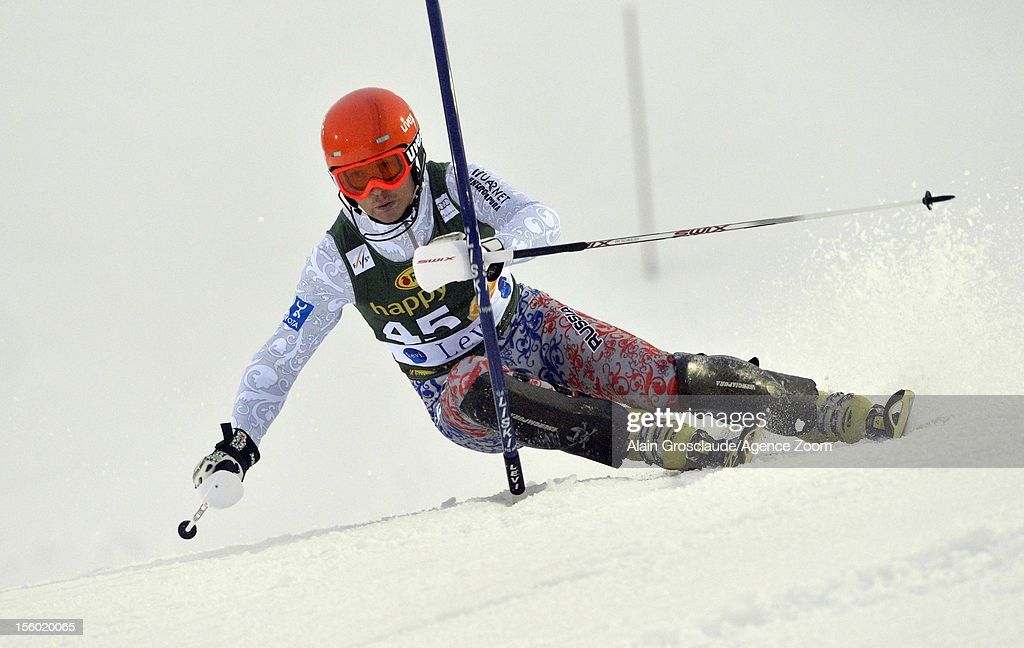 Alexander Khoroshilov of Russia competes during the Audi FIS Alpine Ski World Cup Men's Slalom on November 11, 2012 in Levi, Finland.