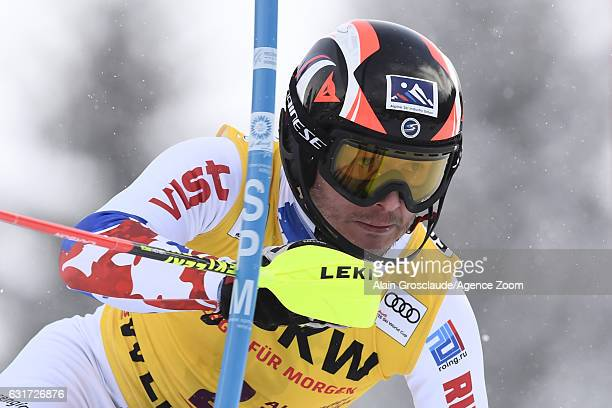 Alexander Khoroshilov of Russia competes during the Audi FIS Alpine Ski World Cup Men's Slalom on January 15 2017 in Wengen Switzerland