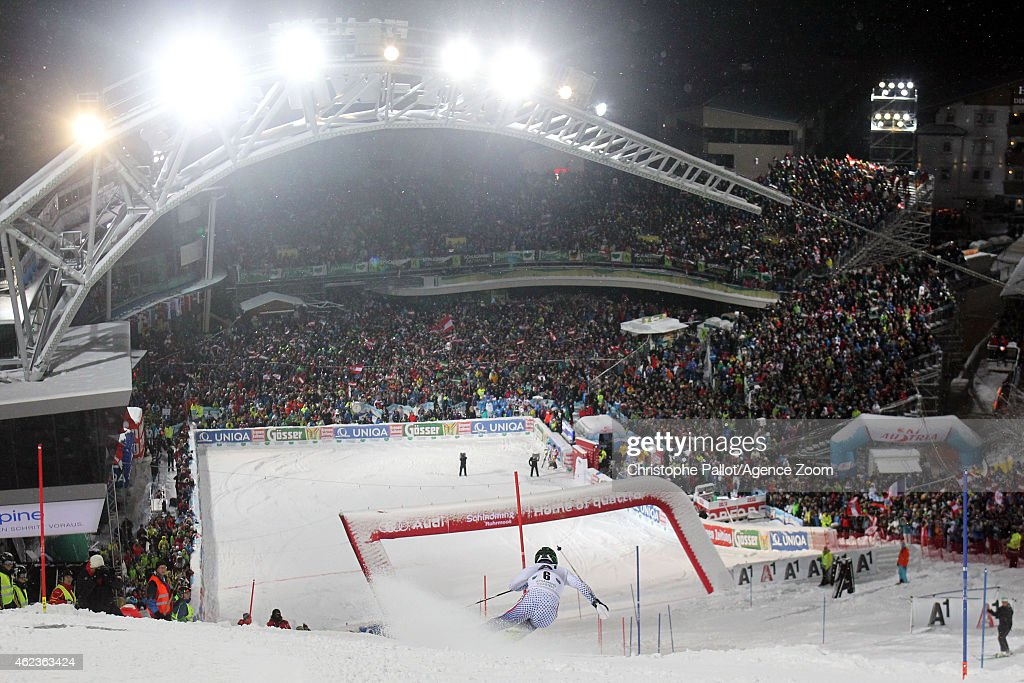 Alexander Khoroshilov of Russia during the Audi FIS Alpine Ski World Cup Men's Slalom on January 27 2015 in Schladming Austria