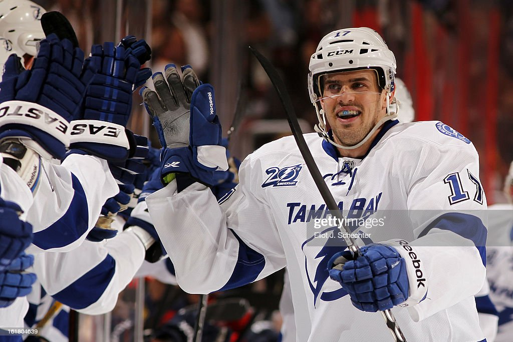 Alexander Killorn #17 of the Tampa Bay Lightning celebrates his goal with teammates against the Florida Panthers at the BB&T Center on February 16, 2013 in Sunrise, Florida.