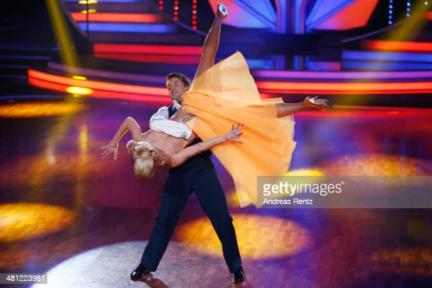 Alexander Klaws and Isabel Edvardsson perform during the 1st Show of 'Let's Dance' on RTL at Coloneum on March 28 2014 in Cologne Germany