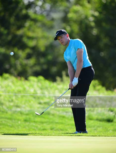 Alexander Knappe of Germany chips on to the 12th green during the Porsche European Open Day Two at Green Eagle Golf Course on July 28 2017 in Hamburg...