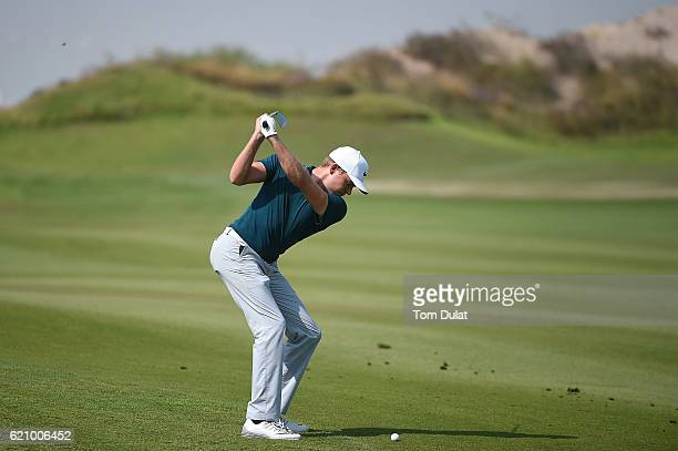 Alexander Knappe of Germany hits an approach shot during day three of the NBO Golf Classic Grand Final at Al Mouj Golf on November 4 2016 in Muscat...