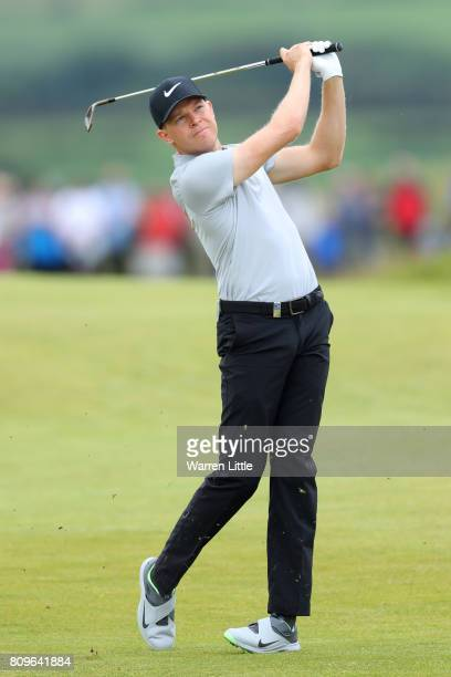 Alexander Knappe of Germany hits his second shot on the 16th hole during day one of the Dubai Duty Free Irish Open at Portstewart Golf Club on July 6...