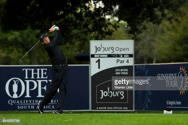 Alexander Knappe of Germany hits his tee shot on the 1st during day one of the Joburg Open at the Royal Johannesburg and Kensington Golf Club on...