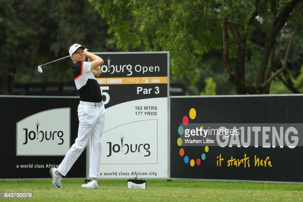 Alexander Knappe of Germany in action during a practice round ahead of the Joburg Open at Royal Johannesburg and Kensington Golf Club on February 22...