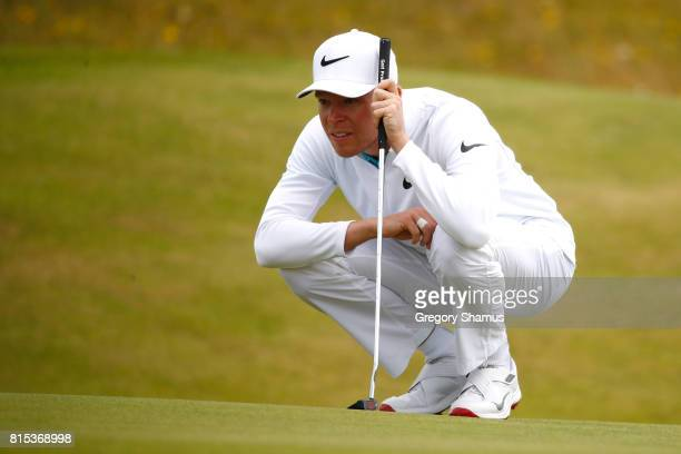 Alexander Knappe of Germany lines up a putt on the 1st green during the final round of the AAM Scottish Open at Dundonald Links Golf Course on July...