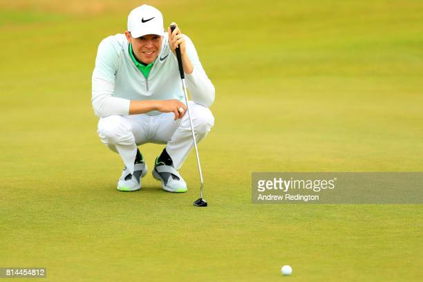 Alexander Knappe of Germany lines up a putt on the 3rd green during day two of the AAM Scottish Open at Dundonald Links Golf Course on July 14 2017...
