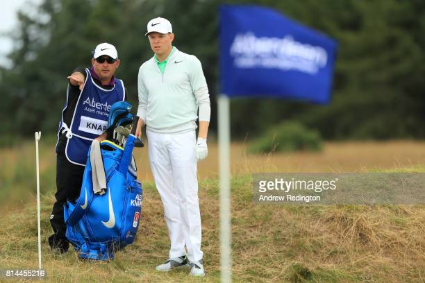 Alexander Knappe of Germany lines up a shot on the 4th hole during day two of the AAM Scottish Open at Dundonald Links Golf Course on July 14 2017 in...
