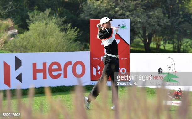 Alexander Knappe of Germany plays a shot during the first round of the Hero Indian Open at Dlf Golf and Country Club on March 9 2017 in New Delhi...