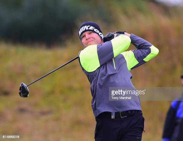 Alexander Knappe of Germany plays his first shot on the 2nd tee during Day Three of the AAM Scottish Open at Dundonald Links Golf Course on July 15...