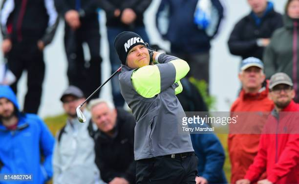 Alexander Knappe of Germany plays his first shot on the 4th tee during Day Three of the AAM Scottish Open at Dundonald Links Golf Course on July 15...