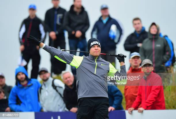 Alexander Knappe of Germany plays his first shot on the 4th tee in to the rough during Day Three of the AAM Scottish Open at Dundonald Links Golf...