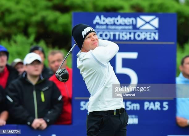 Alexander Knappe of Germany plays his first shot on the 5th tee during Day Three of the AAM Scottish Open at Dundonald Links Golf Course on July 15...
