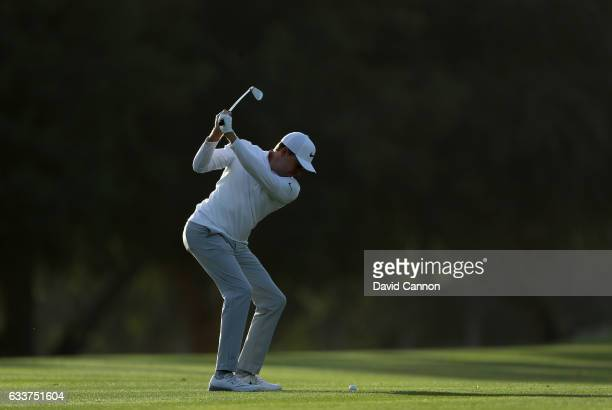 Alexander Knappe of Germany plays his second shot on the par 4 17th hole during the completion of the weather delayed second round of the 2017 Omega...