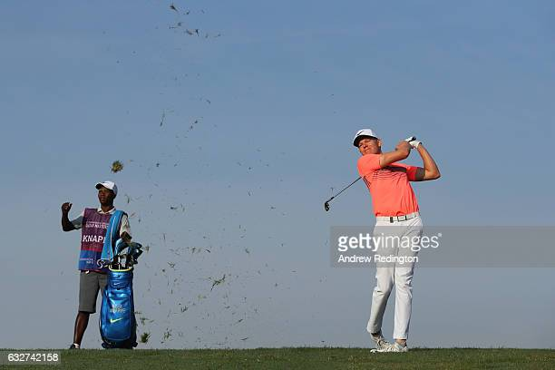 Alexander Knappe of Germany plays his second shot on the second hole during the first round of the Commercial Bank Qatar Masters at the Doha Golf...