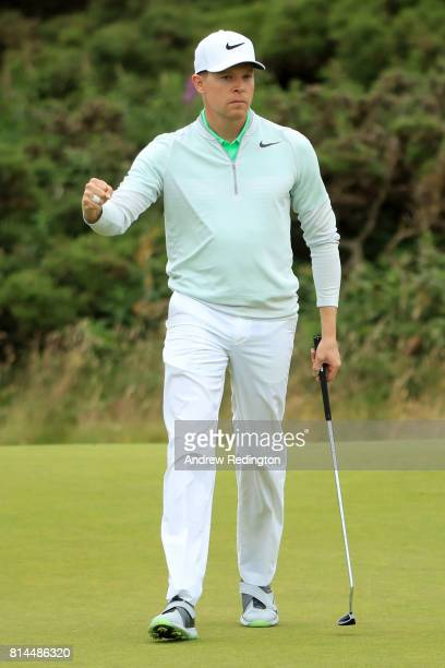 Alexander Knappe of Germany reacts to a putt on the 9th green during day two of the AAM Scottish Open at Dundonald Links Golf Course on July 14 2017...