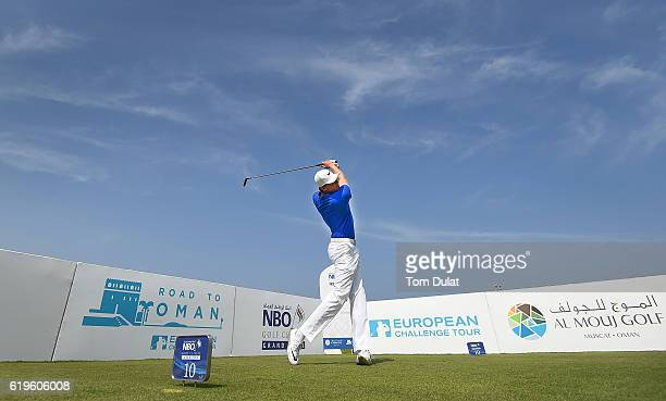 Alexander Knappe of Germany tees off from the 10th hole during previews of the NBO Golf Classic Grand Final at the Almouj Golf Club on November 1...
