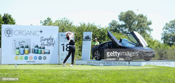 Alexander Knappe of Germany tees off on the 18th hole during the second round of the Lyoness Open at Diamond Country Club on June 9 2017 in...