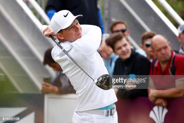Alexander Knappe of Germany tees off on the 1st hole during the final round of the AAM Scottish Open at Dundonald Links Golf Course on July 16 2017...
