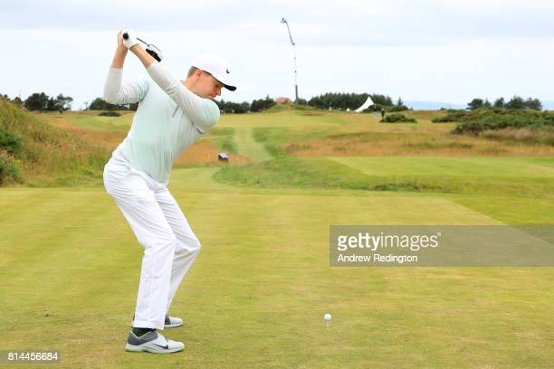 Alexander Knappe of Germany tees off on the 5th hole during day two of the AAM Scottish Open at Dundonald Links Golf Course on July 14 2017 in Troon...