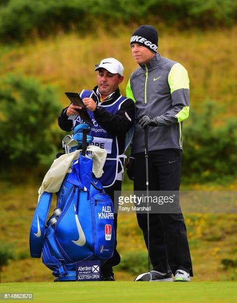 Alexander Knappe of Germany waits to play his first shot on the 2nd tee during Day Three of the AAM Scottish Open at Dundonald Links Golf Course on...