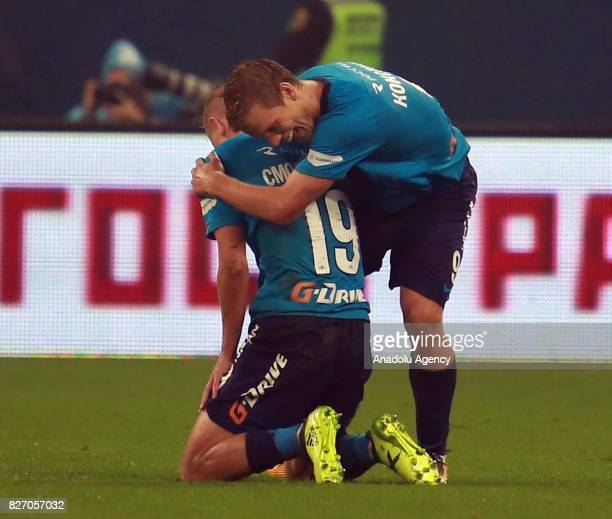 Alexander Kokorin and Igor Smolnikov of FC Zenit SaintPetersburg celebrate after scoring a goal during the Russian Premiere League match between...
