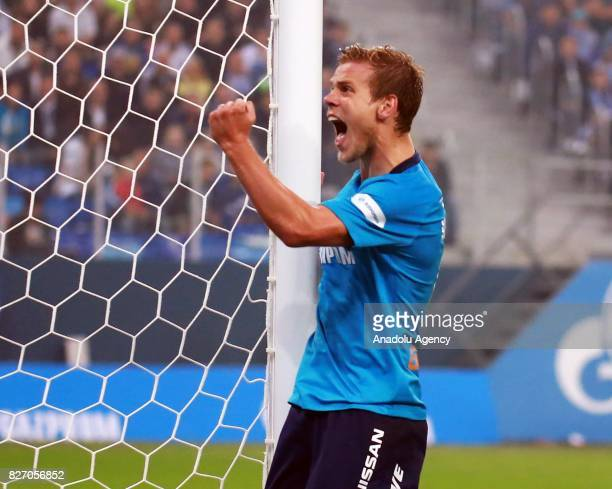 Alexander Kokorin of FC Zenit SaintPetersburg celebrates after scoring a goal during the Russian Premiere League match between Zenit StPetersburg and...