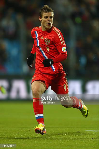 Alexander Kokorin of Russia in action during the FIFA 2014 World Cup Qualifier Group F match between Luxembourg and Russia at the Josy Barthel...